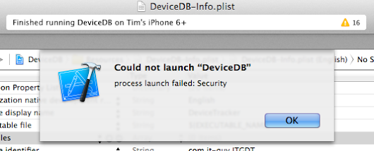 Xcode Process launch failed: Security