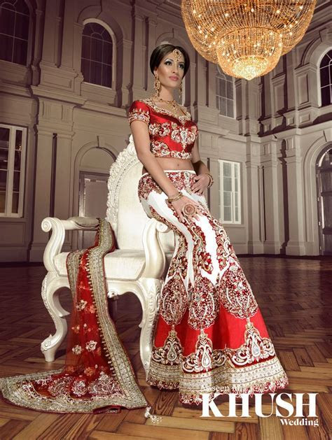 Bridal Lengha, Indian wedding clothes, red and white