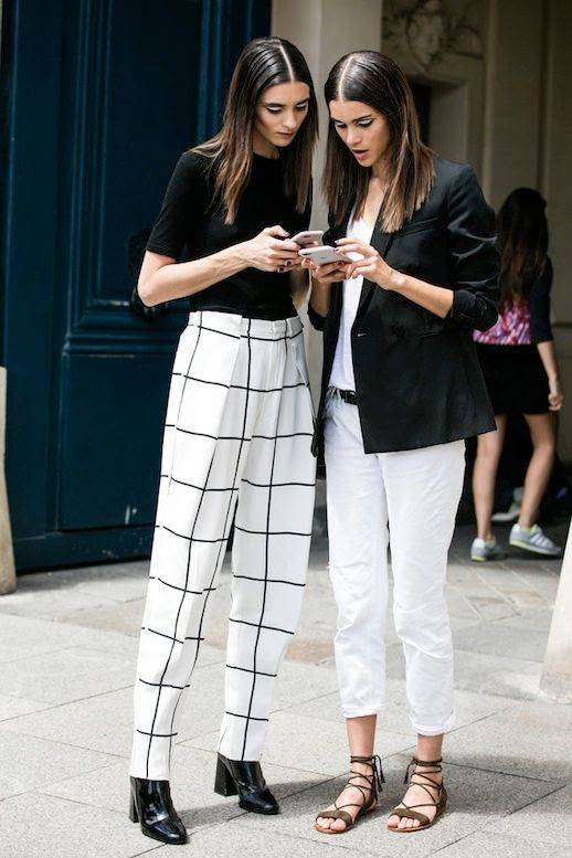 Le Fashion Blog Street Style Black And White Look Short Sleeve Knit Grid Print Trousers Leather Boots Blazer Top Cropped Pants Lace Up Sandals Via Vogue Paris