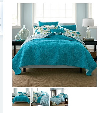Aqua Bedroom...I want to redo my bedroom in this color! Without the birds on the sheets though...