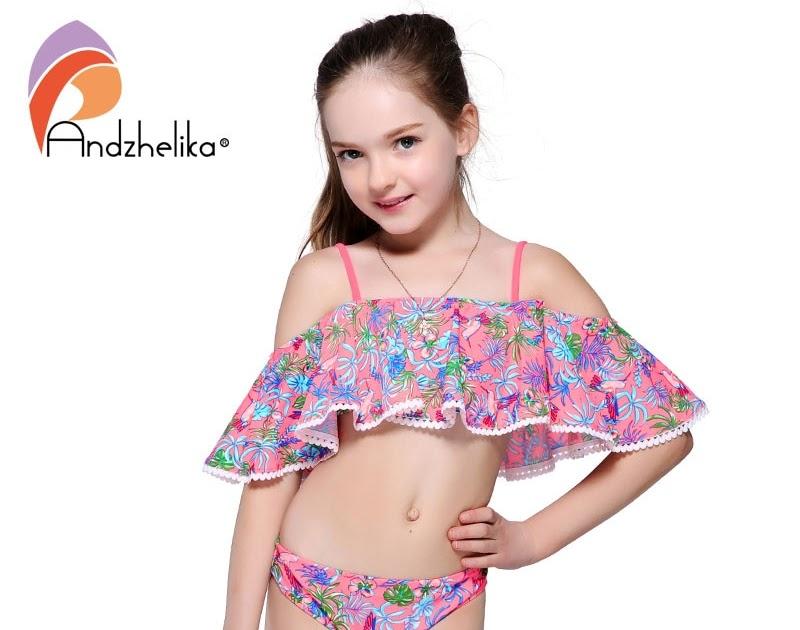 86f25f3e1bf1f2 Goede Kopen Andzhelika Kinderen Badmode 2018 Zomer Meisjes Bikini Set Print  Tweedelige Pakken Ruche Zwemmen Badpak Goedkoop ~ sianz-world