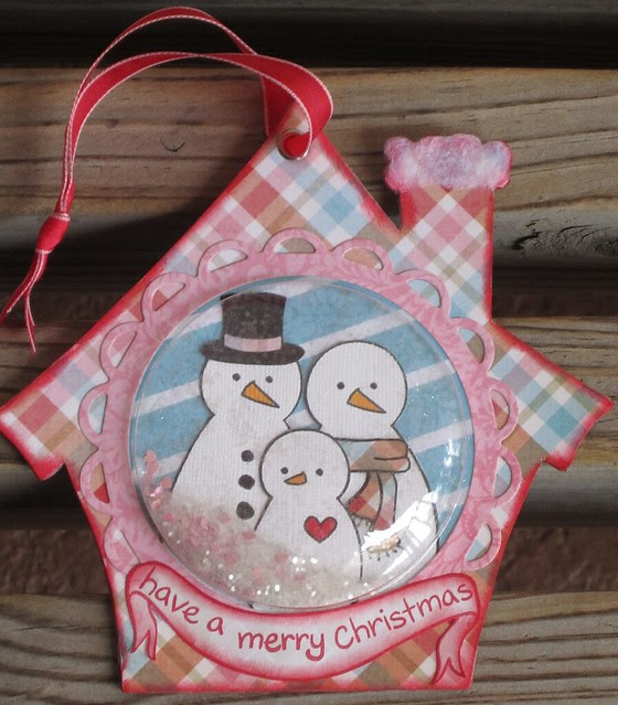 Christmas Ornaments using Lawn Fawn & recycled packaging!!