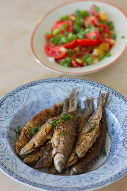 Praetud rääbised / Pan-fried whitefish and tomato salad