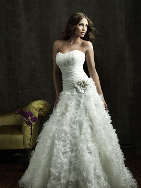 Ball Gown Strapless Organza Floral Wedding Dress With