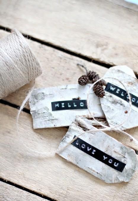 DYMO label on Tree Bark
