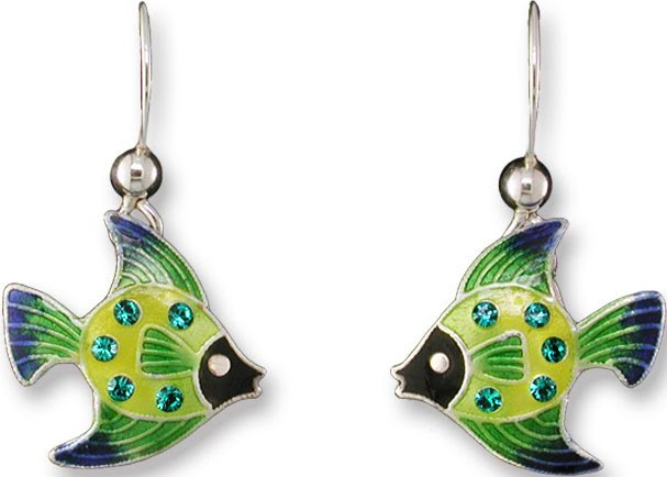 Zarah Enamel Art Jewelry - FISH Earrings 70-82-01 - Sterling Silver - Click Image to Close