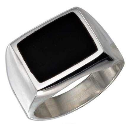 Men's Rectangular Onyx Ring: Just Men's Rings