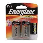 Energizer Max Alkaline 9 Volt Battery 522, Long Lasting 2 Ea