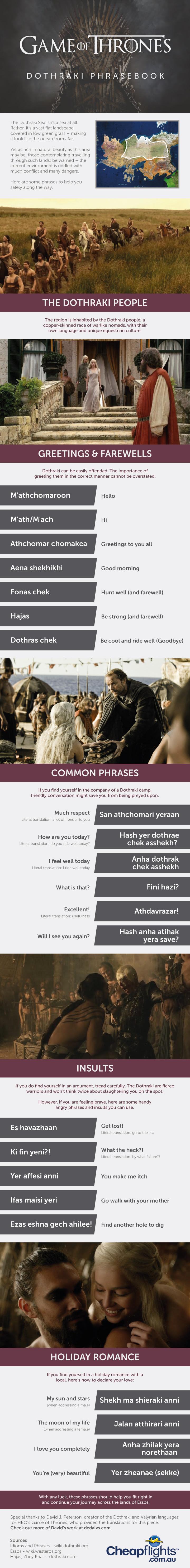 Infographic: Game of Thrones Dothraki Phrasebook #infographic