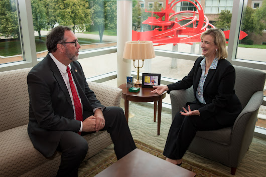 Wright State President Cheryl B. Schrader meets with leaders of Sinclair College, University of Dayton