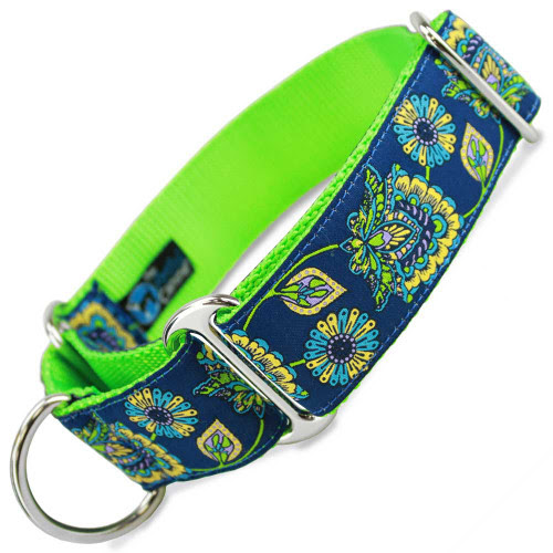 "1.5"" Wide Martingale Collar, Blue Floral"