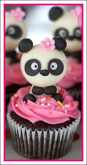 Panda Cupcakes -- with cute panda, pink icing and pink flower so cute! :)