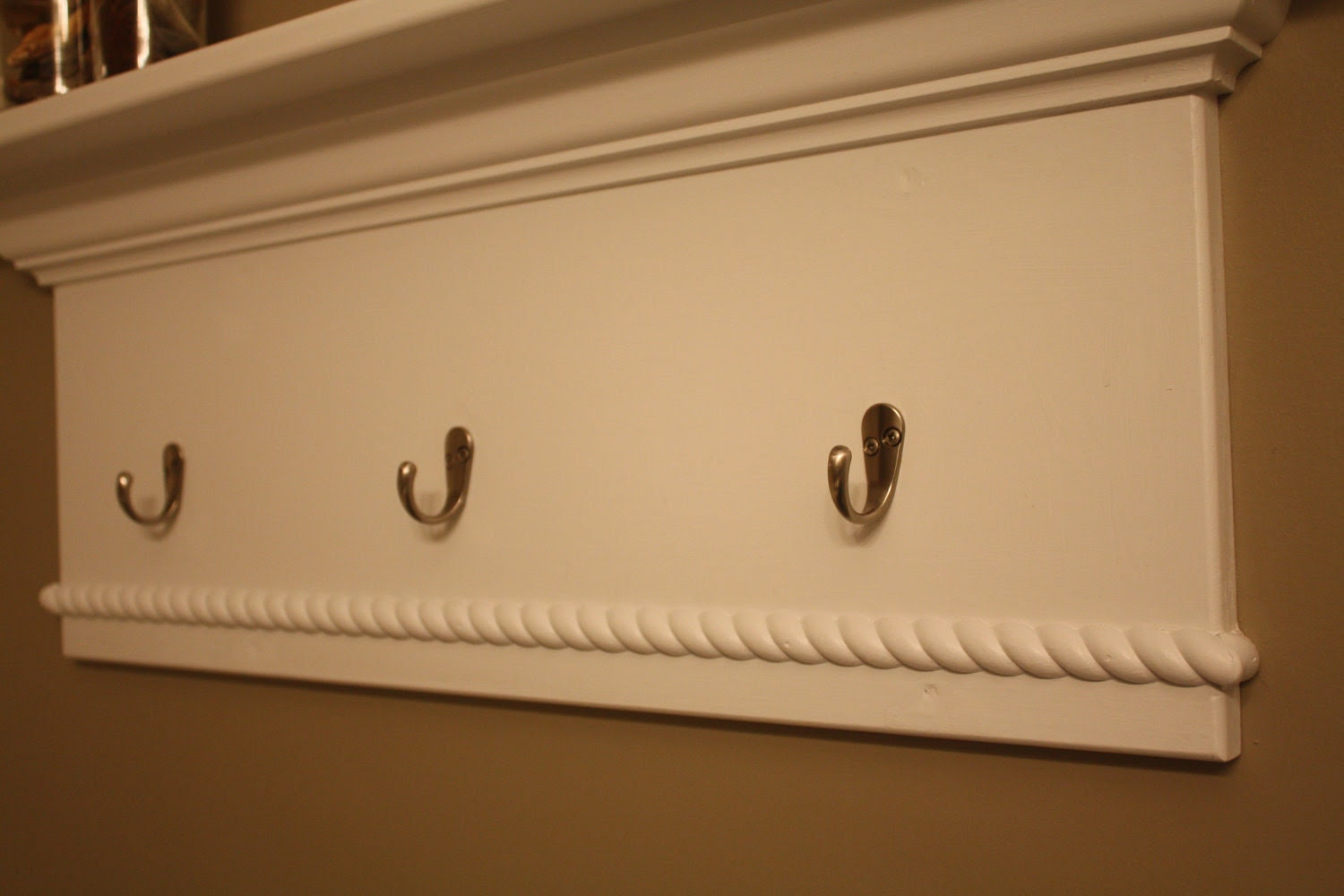 Wall Mounted Shelf with Towel/Coat Hooks