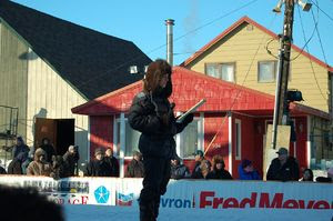 Reporter at the Nome finish line of the 2007 I...