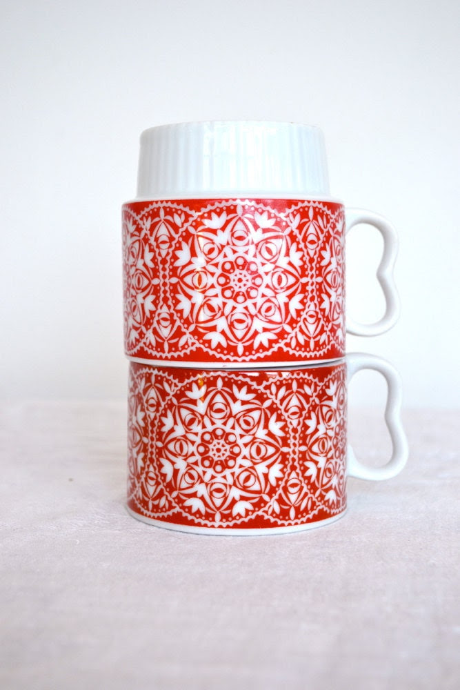 Vintage Red Stacking Cups - Set of 2