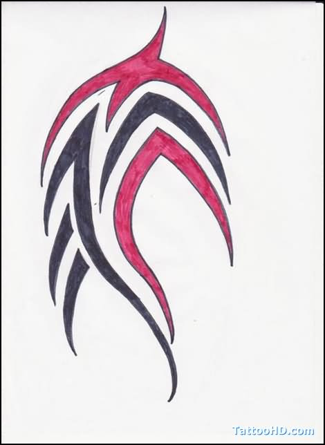 Black And Red Tribal Tattoo Design