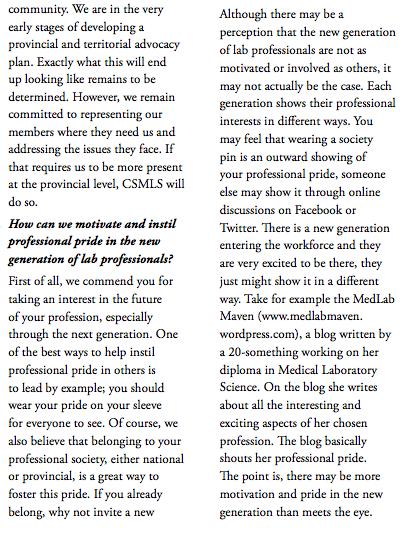 CSMLS Journal Feature