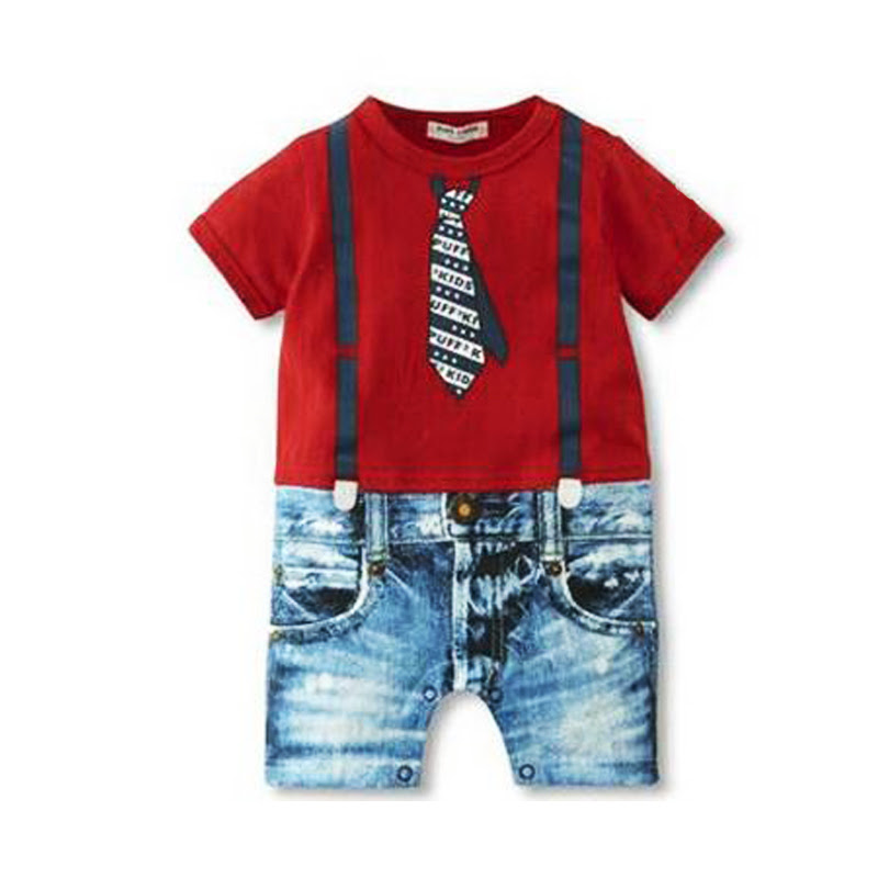 baby boys clothes hot sale 2016 new summer Tie strap short sleeves bow jumpsuit newborn baby