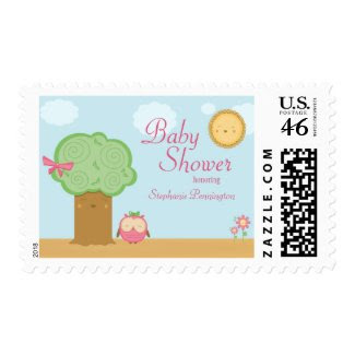 Stylish cute kawaii tree owl baby shower stamps stamp