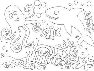 ausmalbild kostenlos unterwasserwelt