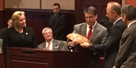 "N.C. Commerce on Twitter: ""Gov. McCrory presents GF Linamar executives Linda Hasenfratz, Jim Jarrell and Josef Edbauer with a gift wooden bowl """