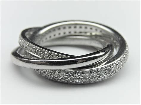 Wedding Band   Eternity Triple Rolling Bands in 14k White Gold