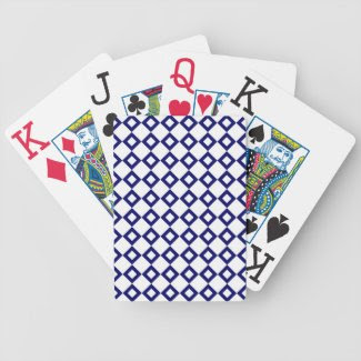White and Navy Diamond Pattern Bicycle Poker Cards