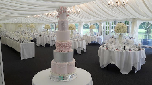 Beautiful Six tier Wedding Cake in Blush and Shimmer Icing at the outstanding Parsonage at Dunmore Park, Airth
