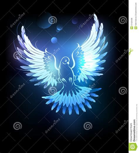 glowing blue dove royalty  stock  image