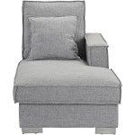 Dali Modern Linen Fabric Chaise Lounge, Light Grey