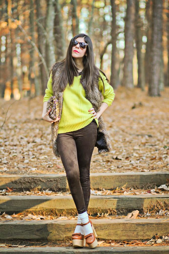 Rachel roy fur, Karen Walker perfect day, Neon sweater