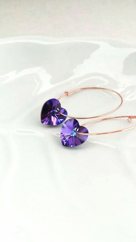 Mothers day gift for her under 25 Purple Heart Earrings