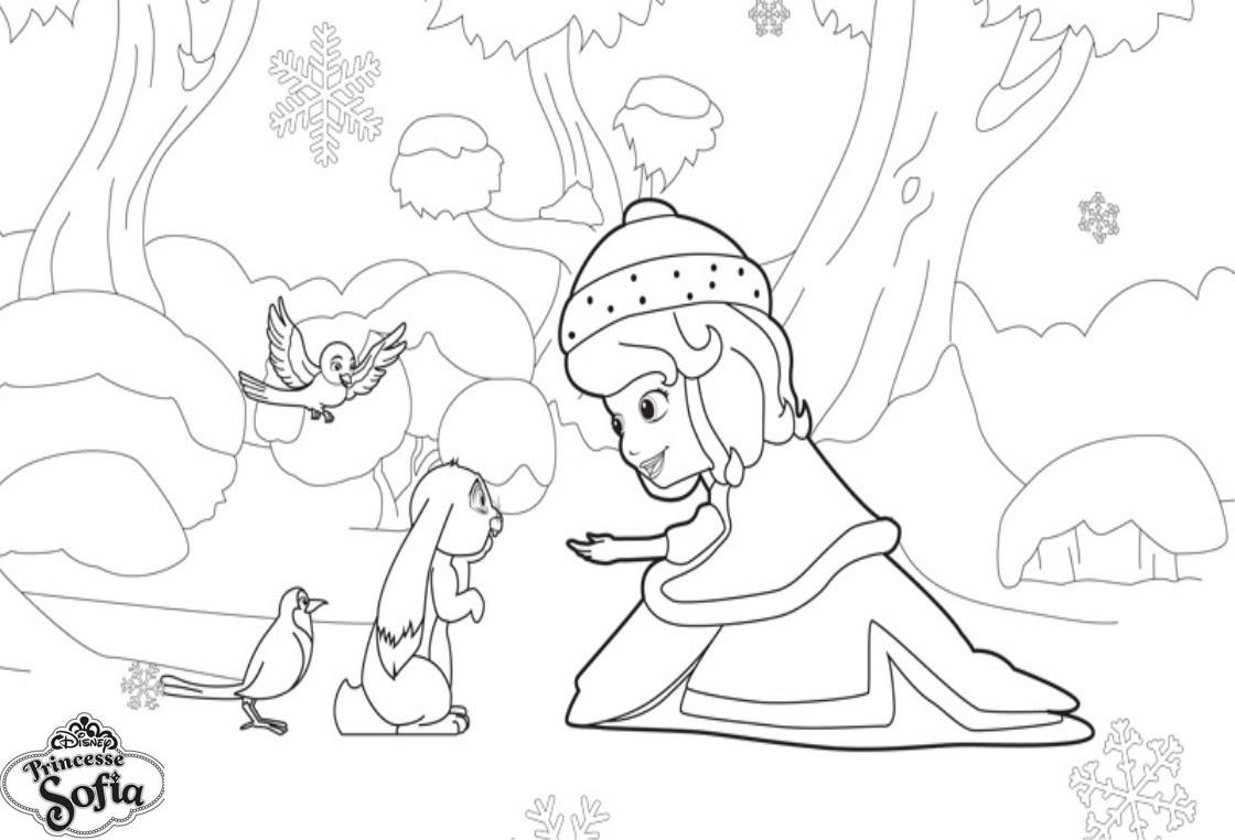 coloriage princesse sofia dans la neige