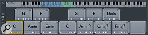 My final choice of chords, assigned to Chord Pads: I selected four 'classic' chords in C major, but to add a little variety I also included the II (D minor) and III (E minor) chords, alternative voicings for C, G and F, as well as three more interesting chords (Amin9, Cmaj7 and Fmaj7).