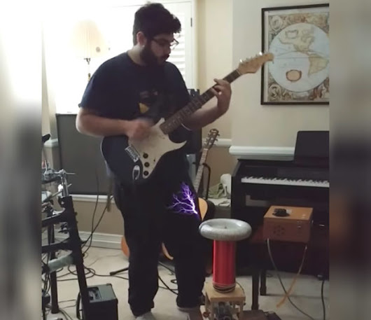 Guy Plays Electric Guitar Through a Tesla Coil