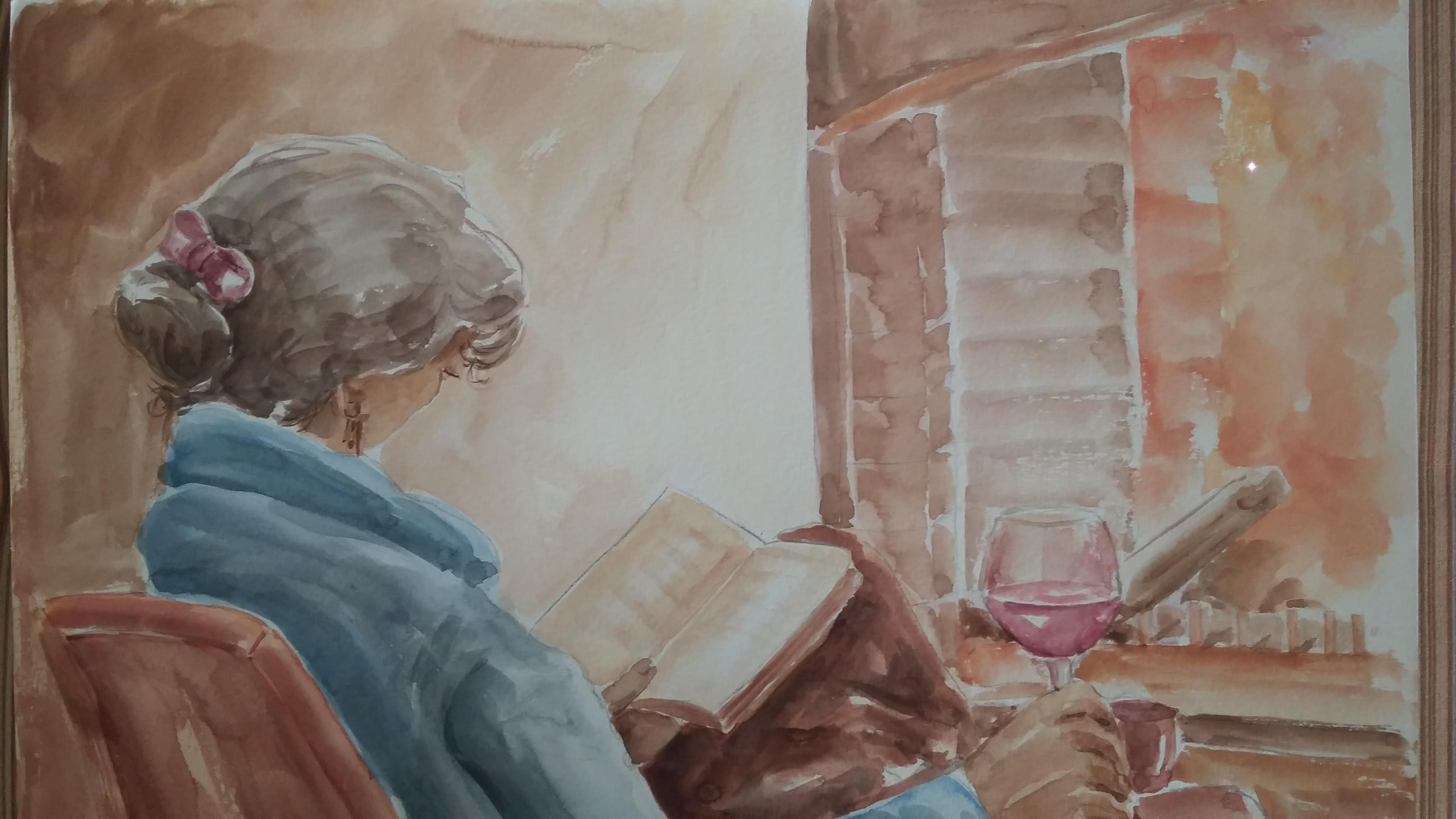 Resultado de imagem para aquarelas pessoas lendo