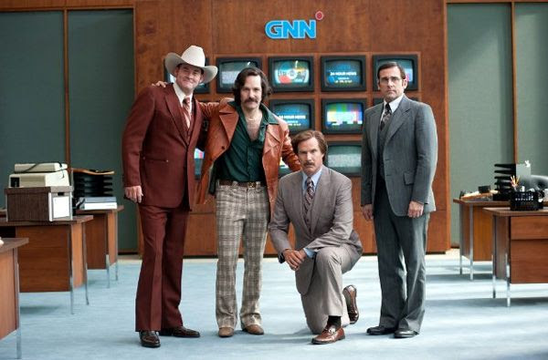 Ron Burgundy, Champ Kind (David Koechner), Brian Fantana (Paul Rudd) and Brick Tamland (Steve Carell) strike a pose in ANCHORMAN 2: THE LEGEND CONTINUES.