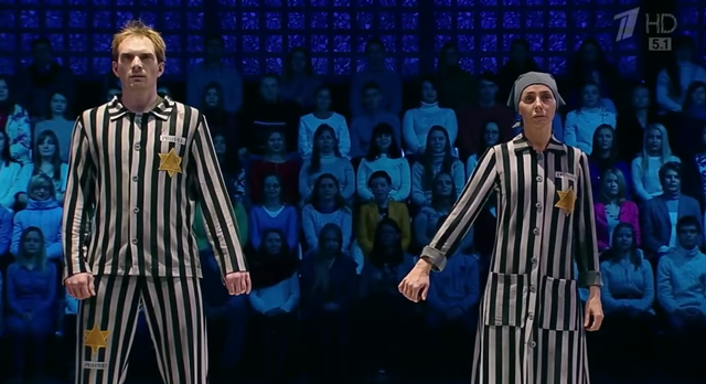 Patinadora russa causa polêmica ao dançar vestida de judia em campo de concentração