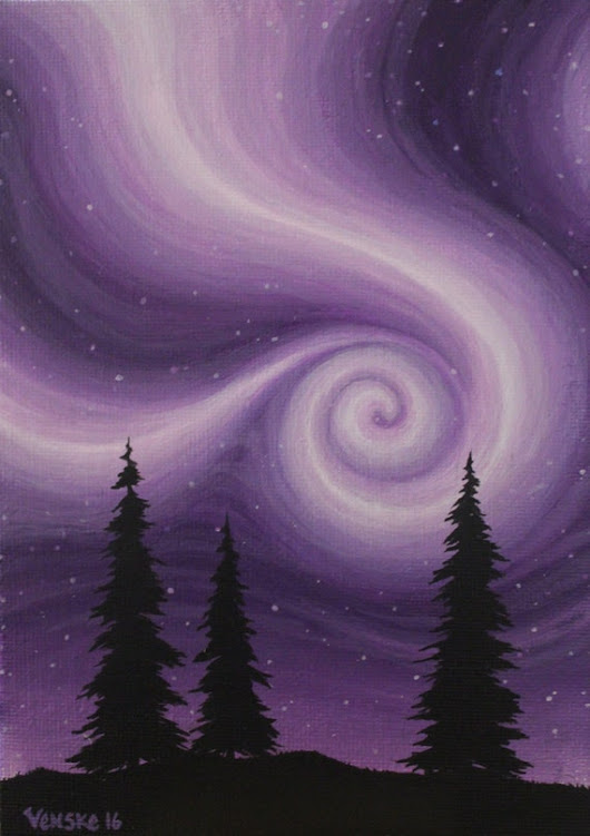 Violet Vortex small 5x7 Acrylic on canvas board by VenskeArtStudio