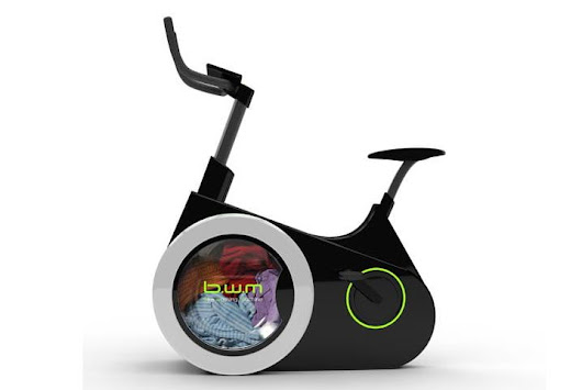 Clean burn: This stationary bike powers a washing machine in its wheel