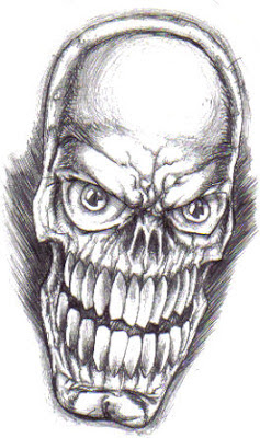 Skull head drawing drawn in biro