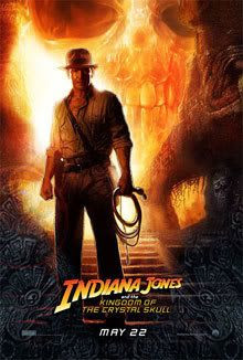 The theatrical movie poster for INDIANA JONES AND THE KINGDOM OF THE CRYSTAL SKULL.