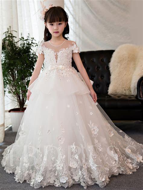 Short Sleeves Beading Ball Gown Flower Girl Dress