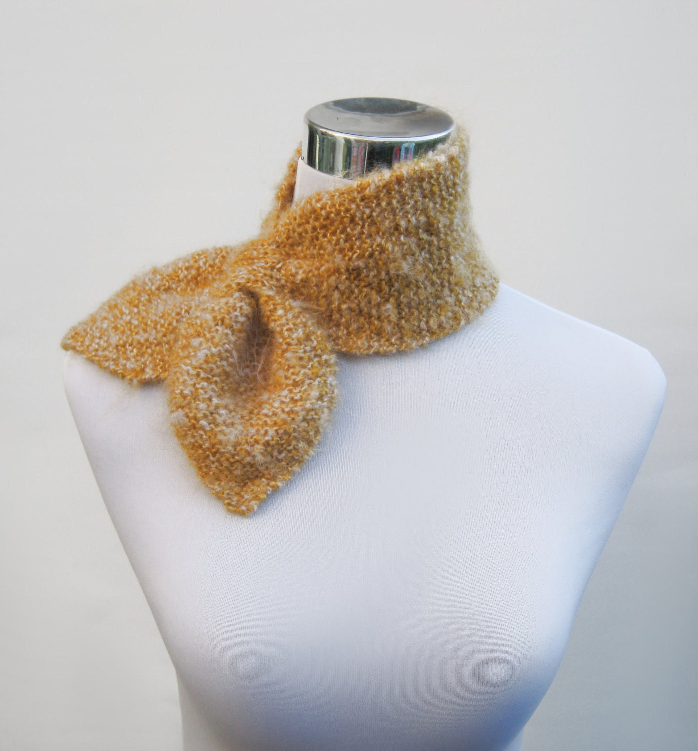 Knit ascot scarf 50s style retro scarflette neck warmer bow tie in mohair look mustard gold