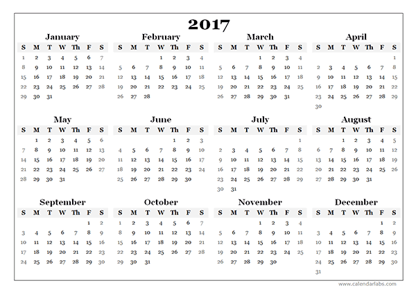 2017 Yearly Blank Calendar Template - Free Printable Templates