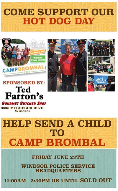 Windsor Police Hot Dog Day Supporting Camp Brombal 2017