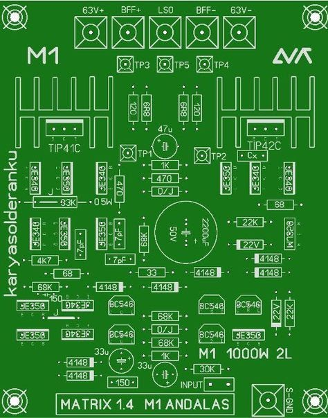 1000w Power Amplifier Circuit Diagram With Pcb Layout