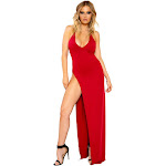 Roma Maxi Length Dress with Deep V Detail and High Slit Medium / Red