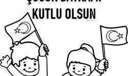 23 Nisan Ulusal Egemenlik Ve çocuk Bayramı Kutlu Olsun Boyama Sayfası
