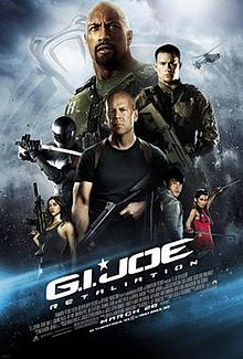 Three men, flanked by two women and an Chinese man. The words GIJoe written diagonally below.